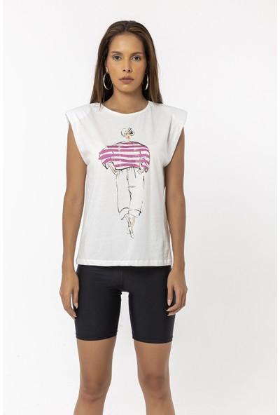 Coral Baskılı Vatkalı Kolsuz T-Shirt Pembe