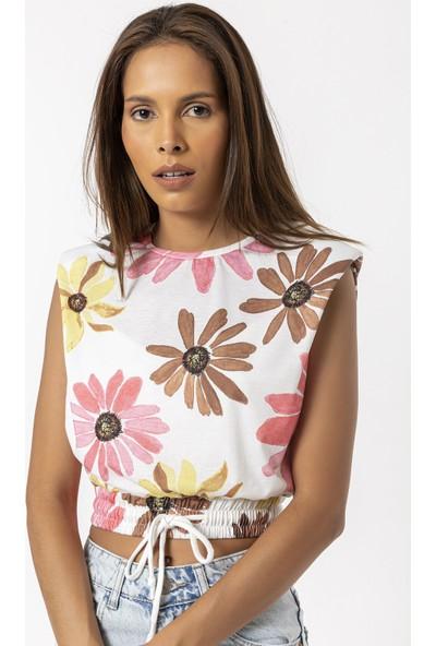 Coral Çiçekli Beli Lastikli Kolsuz Bluz Pembe