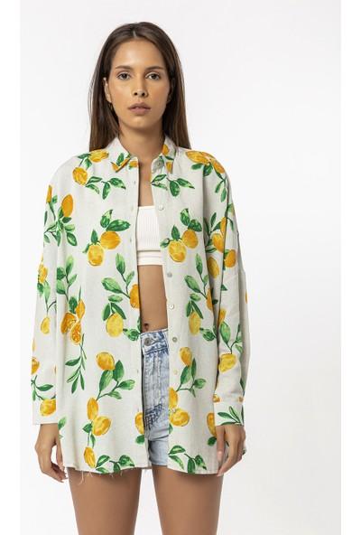 Coral Limon Çiçeği Desenli Gömlek Taş