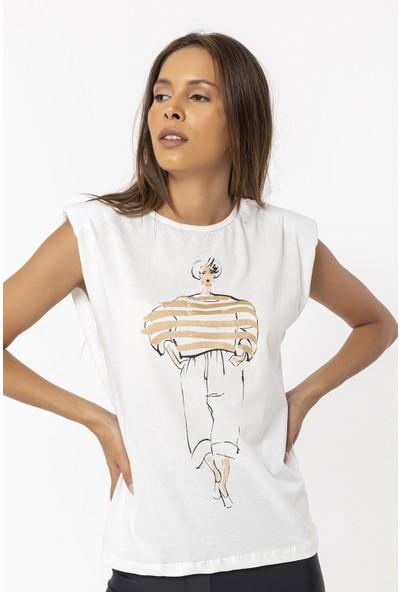 Coral Baskılı Vatkalı Kolsuz T-Shirt Bej