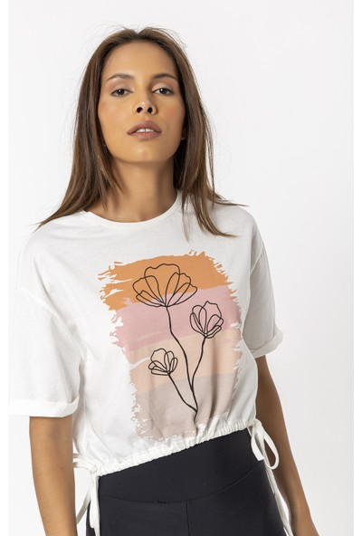 Coral Çiçek Baskılı Kısa T-Shirt Ekru