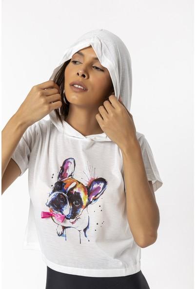 Coral Papyonlu Köpek Baskılı Kapüşonlu T-Shirt Ekru