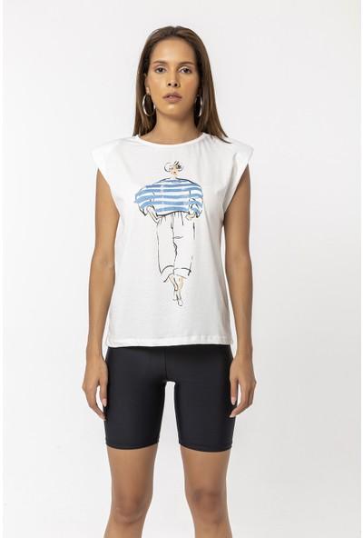 Coral Baskılı Vatkalı Kolsuz T-Shirt Indigo
