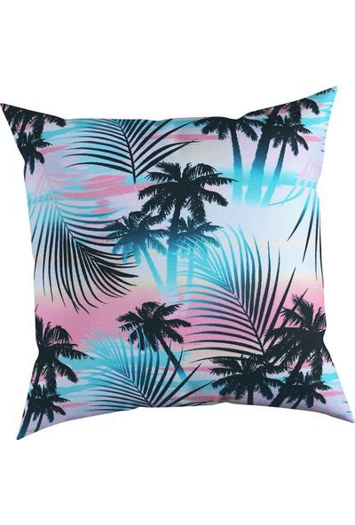 Karnaval Home Çift Taraflı Palmiye Ağaçları Baskılı Kırlent Kılıfı