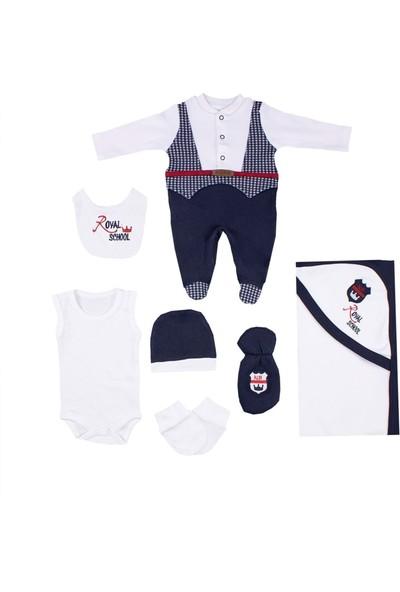 Nono Baby Erkek Bebek Zıbın Seti Hastane Çıkış 7li Ekose Ceketli - Lacivert - Yenidoğan