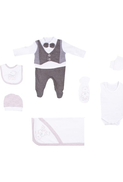 Nono Baby Erkek Bebek Zıbın Seti Hastane Çıkış 7li Yelekli Ayıcıklı - Kahverengi - Yenidoğan