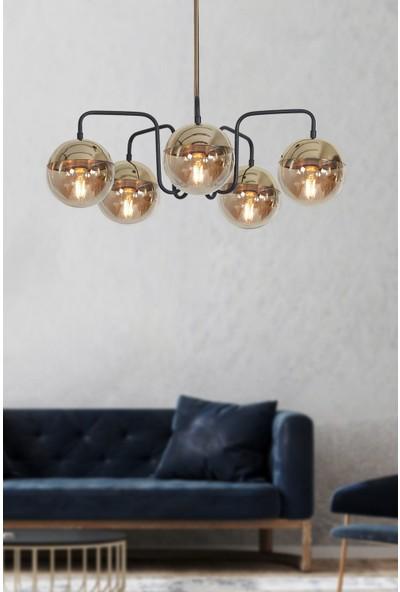 Luzarana Siesta 5 Li Gold-Siyah Metal Gövde Bal Rengi Camlı Tasarım Lüx Sarkıt Avize