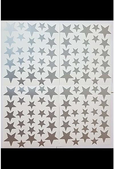 Hepsi Tedarik 3'lü Dekoratif Ahşap Duvar Aydınlatma Seti 2 Adet 40 x 25 cm Beyaz Bulut ve 1 Adet 31,5 x 30 cm Ay Üstünde Uyuyan Fil (Ay: Sarı-Fil:barok Beji) + 112 Adet 3-4-5 cm Gümüş Yıldız Sticker