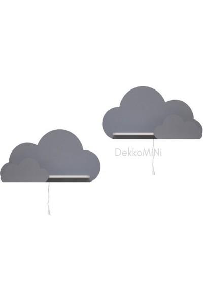 Hepsi Tedarik 40X23 cm Ebadında Dekoratif Amaçlı 2 Adet Gri Bulut Çocuk Odası Rafı Bulut Raf
