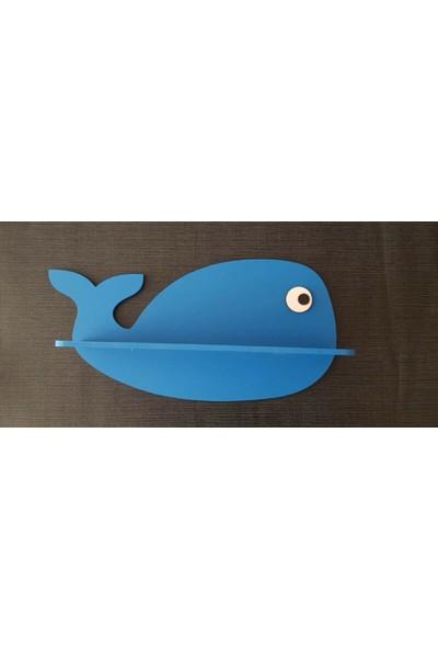 Hepsi Tedarik Mavi Balina Çocuk Odası Rafı Dekoratif Amaçlı Raf 2'li Paket Bebek Odası Dekor Raf