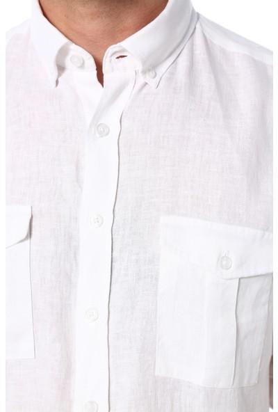 Network Erkek Beyaz Keten Gömlek