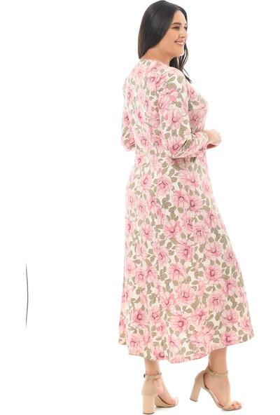 Besimma Kadın Uzun Kollu Ekru Pembe Çiçekli Uzun Penye Elbise