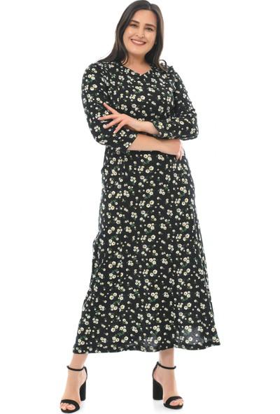Besimma Kadın Uzun Kollu Siyah Papatya Uzun Penye Elbise