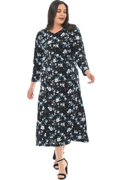 Besimma Kadın Uzun Kollu Siyah Mavi Çiçek Uzun Penye Elbise