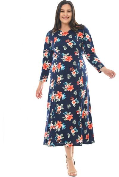 Besimma Kadın Uzun Kollu Laci Kırmızı Çiçekli Uzun Penye Elbise