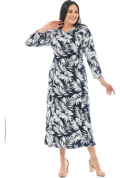 Besimma Kadın Uzun Kollu Lacivert Beyaz Yapraklı Uzun Penye ELBİSE82021142266