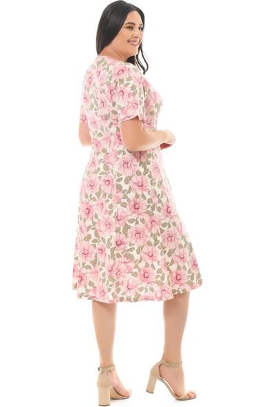Besimma Kadın Düğmeli Kısa Kollu Ekru Pembe Çiçekli Penye Elbise