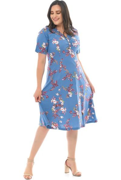 Besimma Kadın Düğmeli Kısa Kollu Mavi Bahar Çiçeği Penye ELBİSE82021101164