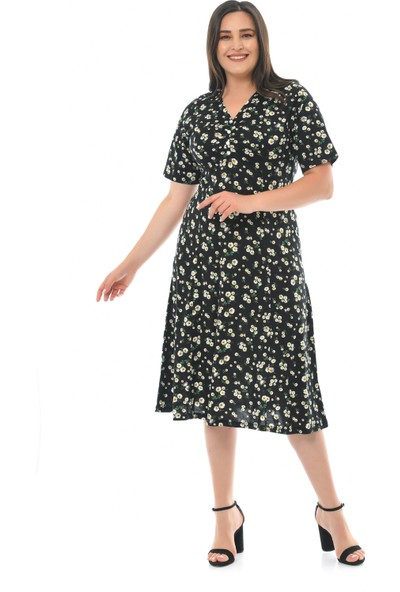 Besimma Kadın Düğmeli Kısa Kollu Siyah Papatya Penye Elbise