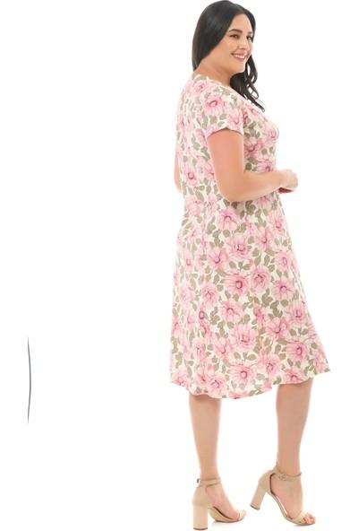 Besimma Kadın Kruvaze Ekru Pembe Çiçekli Penye Elbise