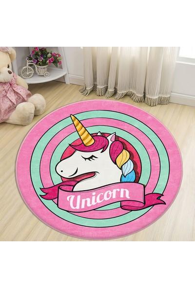Bebişim Halı Bebişim Sevimli Unicorn Yuvarlak Çocuk Halısı