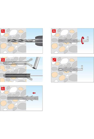 Tox 8X40 Pirat Barbossa-L Kancalı Roket Dübel 4 Adet (051701061)