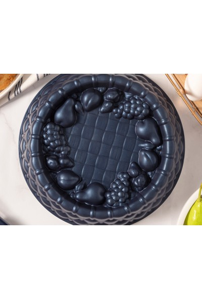 English Home Confetti Döküm Granit Meyveli Tart Kalıbı 25X6 cm Lacivert