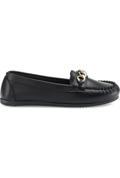 Miss F DS21071T 1pr Siyah Kadın Loafer Ayakkabı