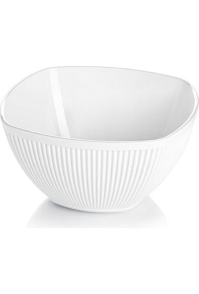 EW's Kitchenware Akrilik Barok Beyaz Orta Kare Salata Kasesi