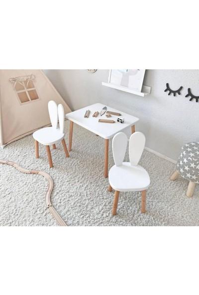 The Mimar Tavşan Kulak Çocuk Masa + 2 Sandalye Takımı
