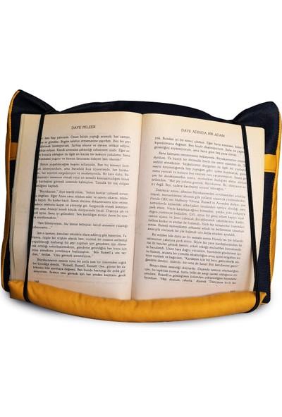 Yedi Kedi Cepli Kitap / Tablet Yastığı Sarı Denim