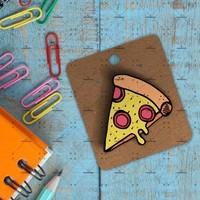 Hipder Pizza Baskılı Ahşap Rozet