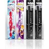 Rocs Black Edıtıon Diş Fırça ve 3-7 Kids Diş Fırça Aile Seti-(2 Black -1kırmızı -1 Mor )
