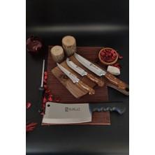 Sürlaz Sürmene 4'lü Bıçak Seti, Kasap Zırhı, Doğrama, Yüzme, Sıyırma Ultra Keskin Set+ Masat