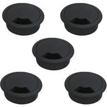 Nzb 5'li Masa Üstü Kablo Kanalı Deliği Kapağı Siyah Masa Kapağı 6 cm