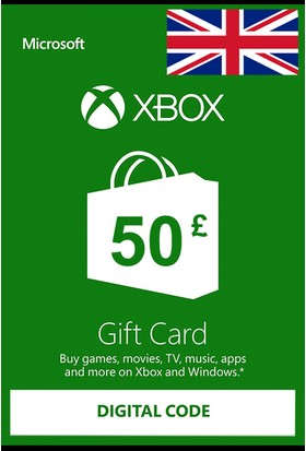 Xbox Live Gift Card 50 GBP / 50 POUND (UK) United Kingdom