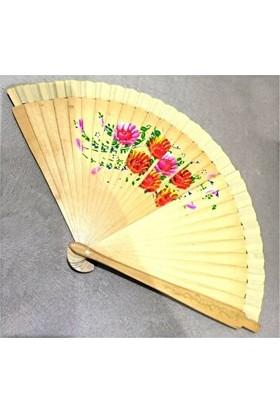 Vipfoni Çift Taraflı Desenli Bambu Yelpaze - Natural