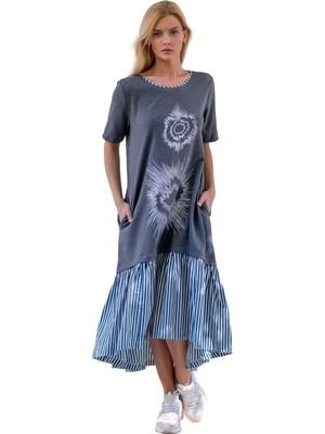 Şeilamia Bisitlet Yaka Kısa Kollu Elbise