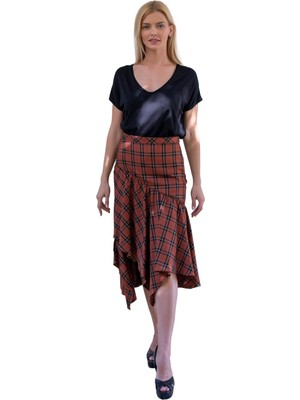 Şeilamia Ekose Desen Asimetrik Kesim Elbise
