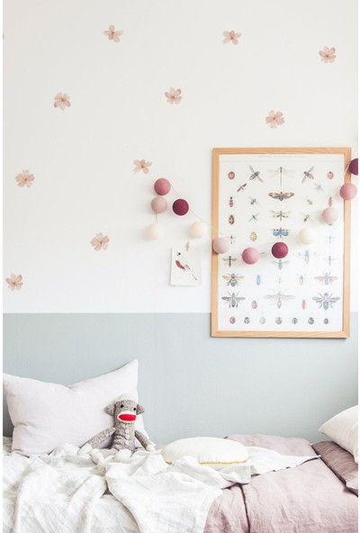 Sim Tasarım Pembe Yaz Çiçekleri Duvar Sticker Set