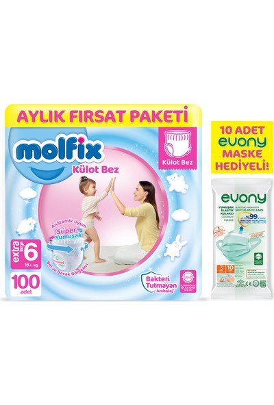 Molfix Külot Bez 6 Beden Ekstra Large Aylık Fırsat Paketi 100'LÜ + Evony Maske 10'lu