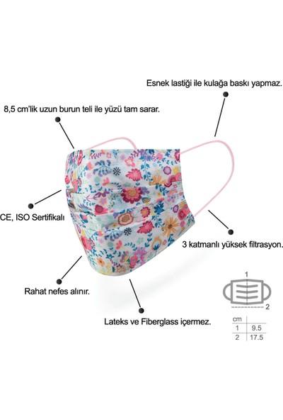 Mutlu Maske Meltblown Filtreli 3 Katlı Bahar Çiçekleri Desenli Tek Kullanımlık Cerrahi Maske 10'lu