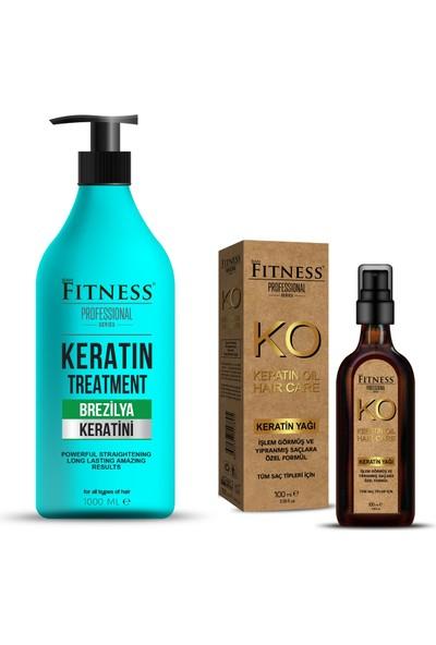 Fitness Professional Saç Düzleştirici Keratin Bakımı Brezilya Fönü 1000ML + Keratin Yağı 100 ml