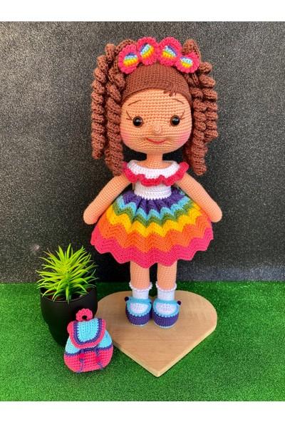 Simay Store Amigurumi Organik Örgü Oyuncak Kıvırcık Saçlı Çantalı Karnaval Örgü Bebek 35 cm