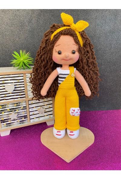 Simay Store Amigurumi Organik Örgü Oyuncak Sarı Tulumlu Örgü Bebek 35 cm