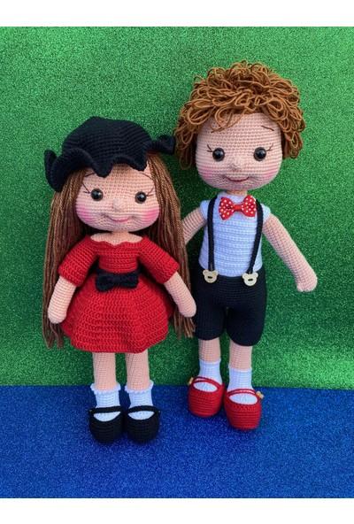 Simay Store Amigurumi Organik Örgü Oyuncak Kırmızı Kız-Erkek Örgü Bebek Çifti