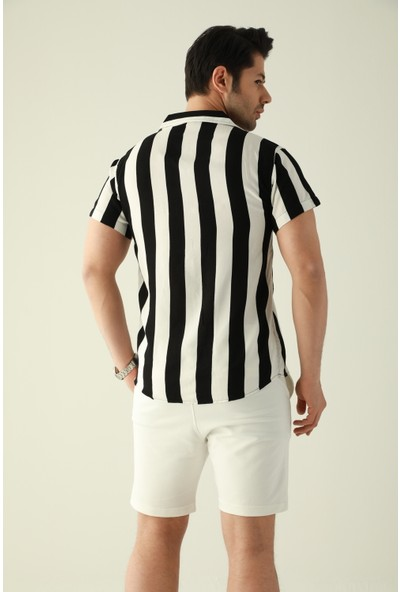 Destiny Çizgili Kısa Kollu Gömlek