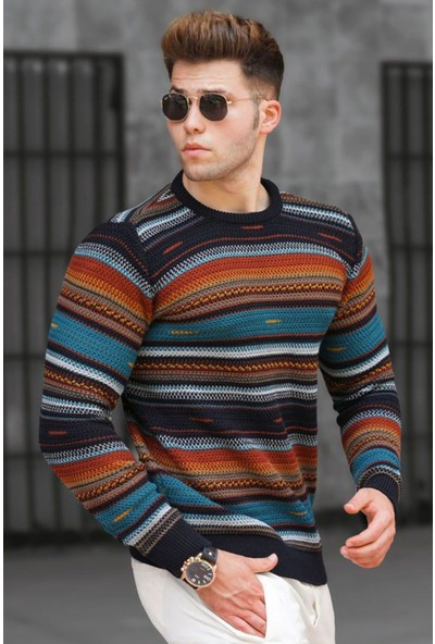 Madmext Lacivert Renk Bloklu Erkek Kazak 5150