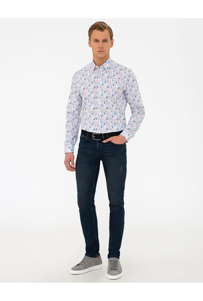 Pierre Cardin Koyu Mavi Slim Fit Denim Pantolon 50240094-VR028