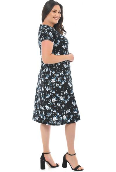 Besimma Kadın Kruvaze Siyah Mavi Çiçek Penye Elbise